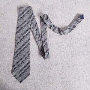 Christian Dior Diagonal Striped Grey Neck Tie